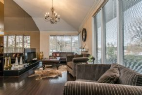 Living Room with Picture Windows - Country homes for sale and luxury real estate including horse farms and property in the Caledon and King City areas near Toronto