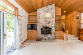 Master Bedroom Fieldstone Fireplace - Country homes for sale and luxury real estate including horse farms and property in the Caledon and King City areas near Toronto