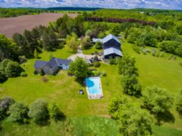 West Farm Aerial - Country homes for sale and luxury real estate including horse farms and property in the Caledon and King City areas near Toronto