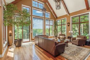 Great Room with stone fireplace and views - Country homes for sale and luxury real estate including horse farms and property in the Caledon and King City areas near Toronto