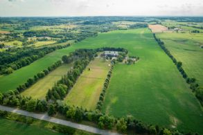 Aerial looking west - Country homes for sale and luxury real estate including horse farms and property in the Caledon and King City areas near Toronto