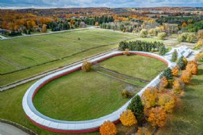 Aerial of Indoor Track - Country homes for sale and luxury real estate including horse farms and property in the Caledon and King City areas near Toronto