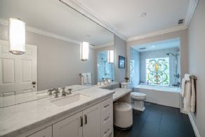 renovated bathroom with heated floors - Country homes for sale and luxury real estate including horse farms and property in the Caledon and King City areas near Toronto